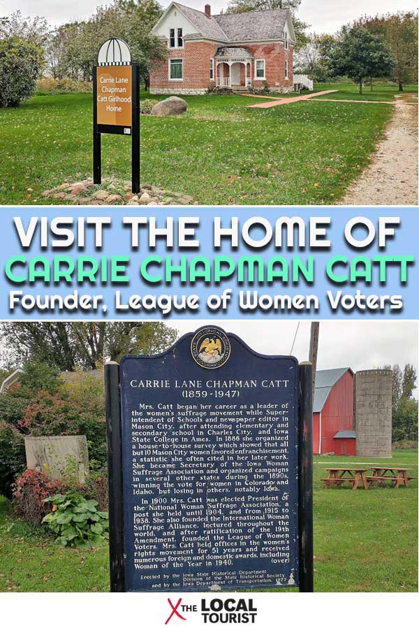 Carrie Chapman Catt was the founder of the League of Women Voters and a leading suffragette. Visit her girlhood home in Charles City, Iowa, to learn more about this influential woman. #USA #Vote #Suffragette