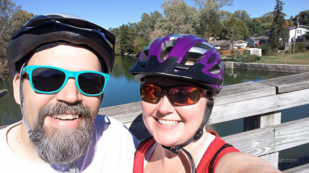 Jim and Theresa grinning after biking to the Fox River