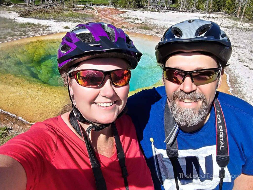 Jim and Theresa at Morning Glory Pool in Yellowstone National Park