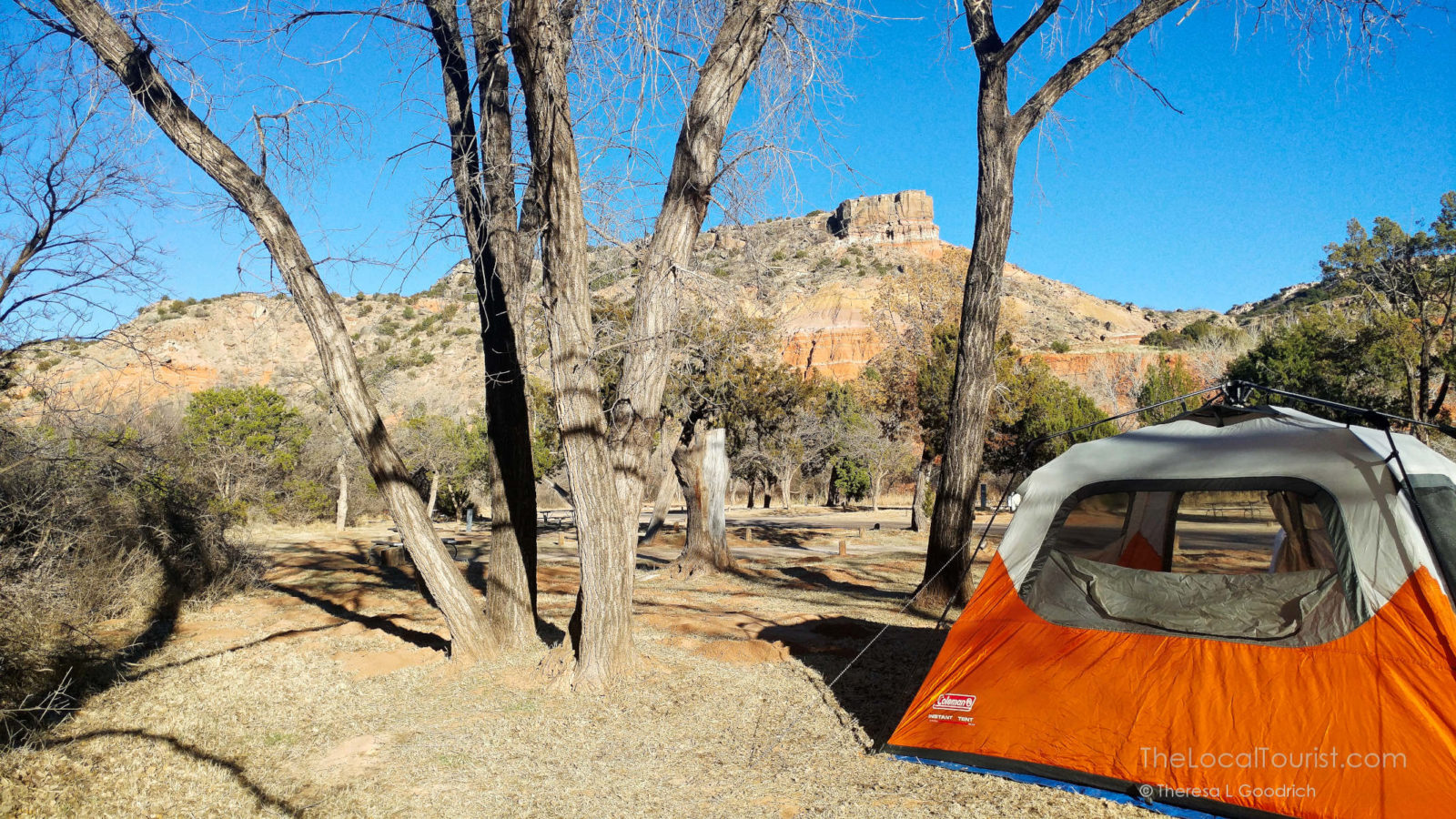 Tent in Hackberry Campground in Palo Duro Canyon State Park
