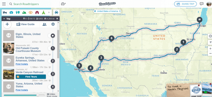 Add more places to stop on your road trip and you'll see the mileage and time change.