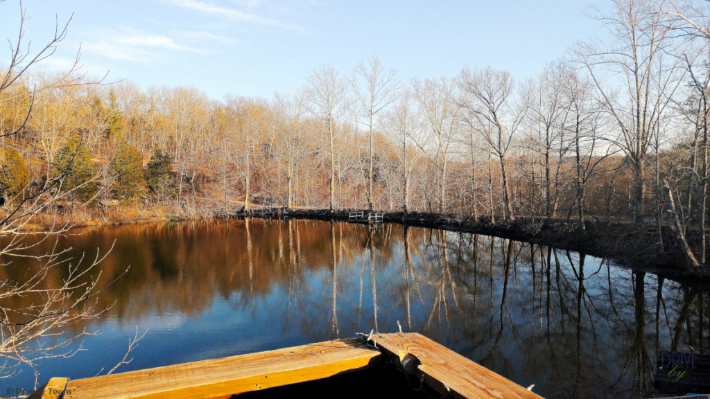 Emerald Lake from the upper deck of First Cabin at Blue Jay Farm in the Ozarks