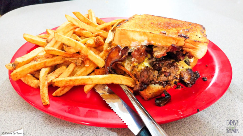 Burger on Texas Toast at Homeplate Bar & Grill