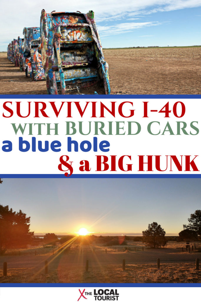 Surviving I-40 through the Texas Panhandle with stops at Cadillac Ranch, Route 66 halfway point, and the Blue Hole of Santa Rosa. #RoadTrip #USARoadTrip #CadillacRanch