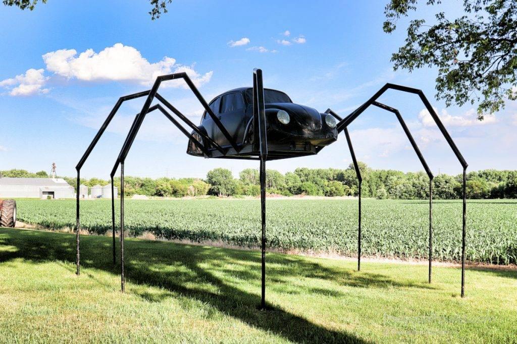 A Volkswagen Spider on stilts in Avoca, Iowa