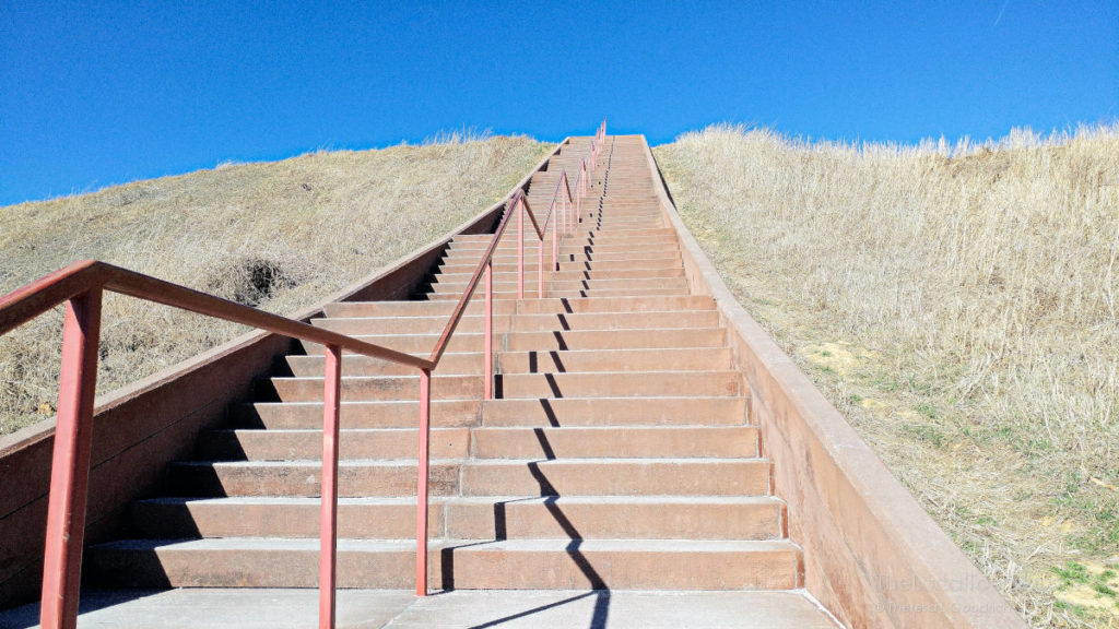 Stairs leading to the very top of Monks Mound