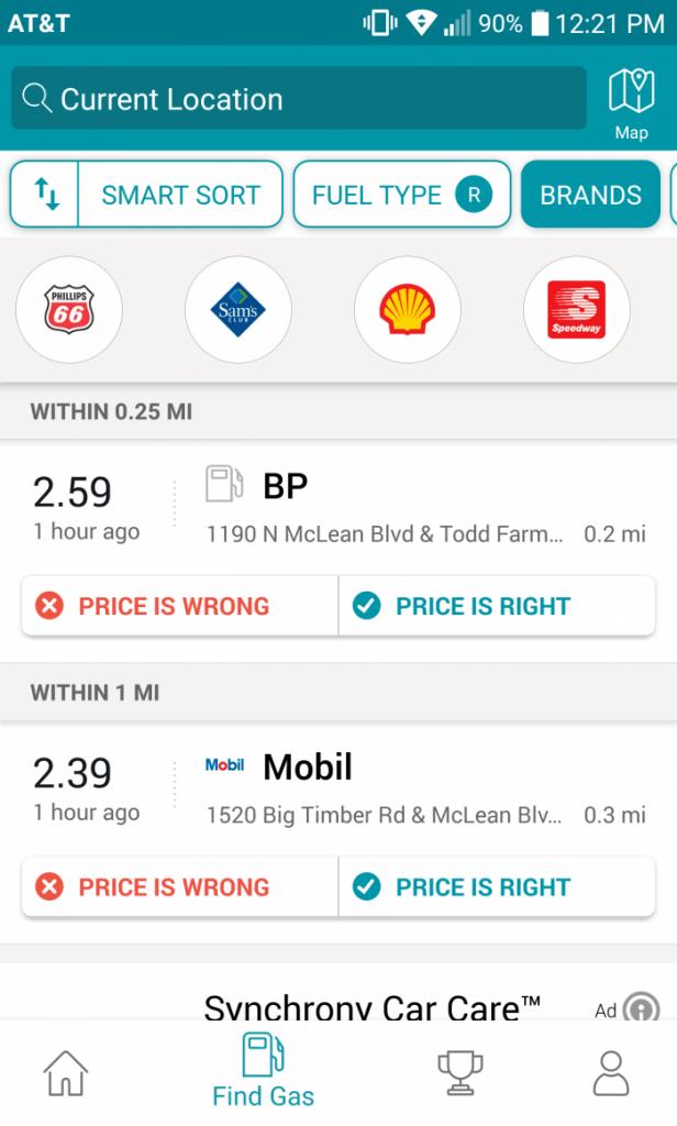 GasBuddy Brand Selection Screenshot