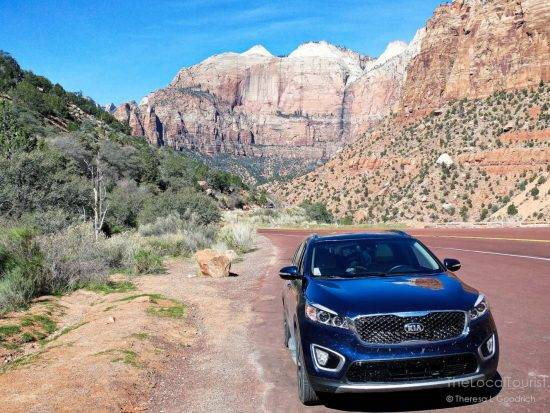 Mae, our Kia Sorento, in Zion National Park