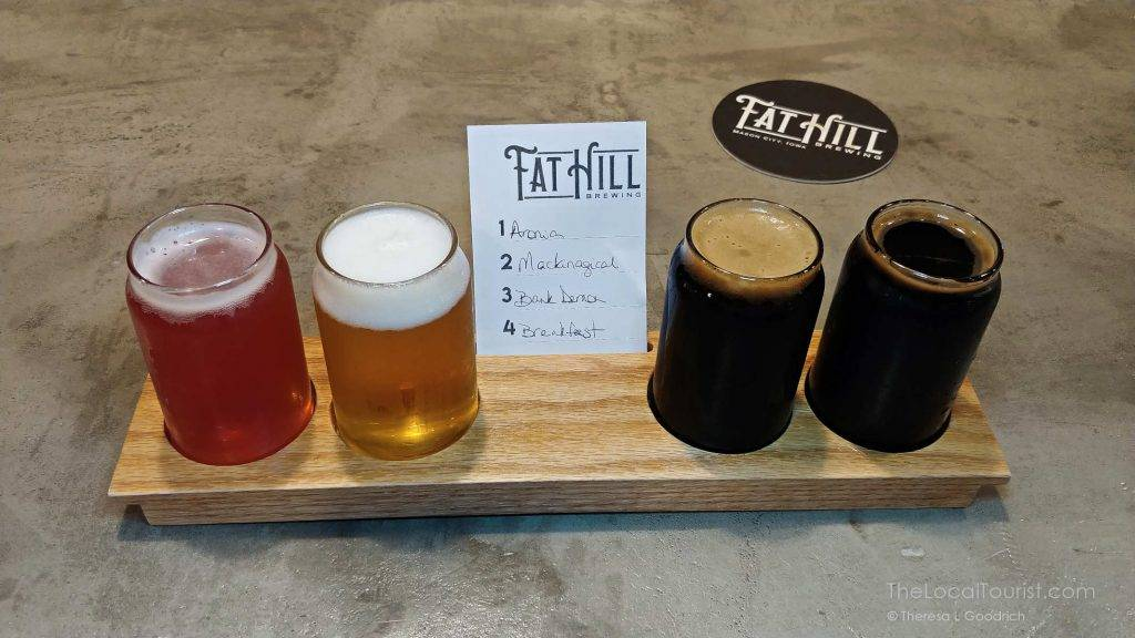 Beer flight at Fat Hill Brewing in Mason City, Iowa