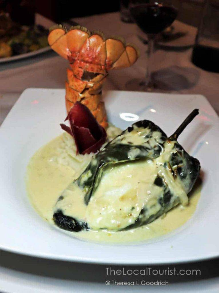 Poblano pepper stuffed with lobster and goat cheese