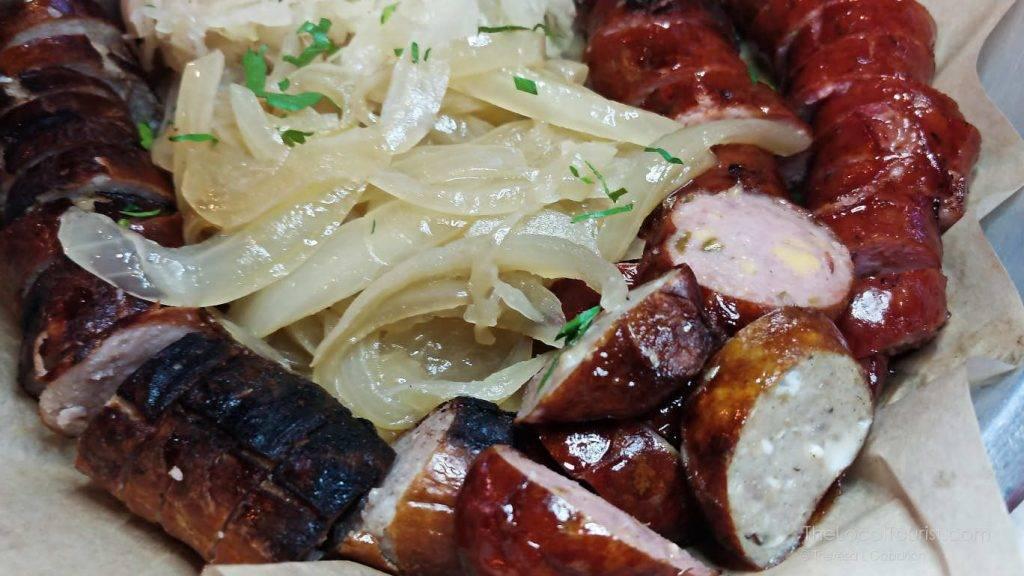 Sausage sampler at Richmond Brathaus: Smoked Polish Sausage, German Style Bratwurst, Smoked Bacon Jalapeno Cheddar Wurst, Portabello Swiss Stuffed Wurst