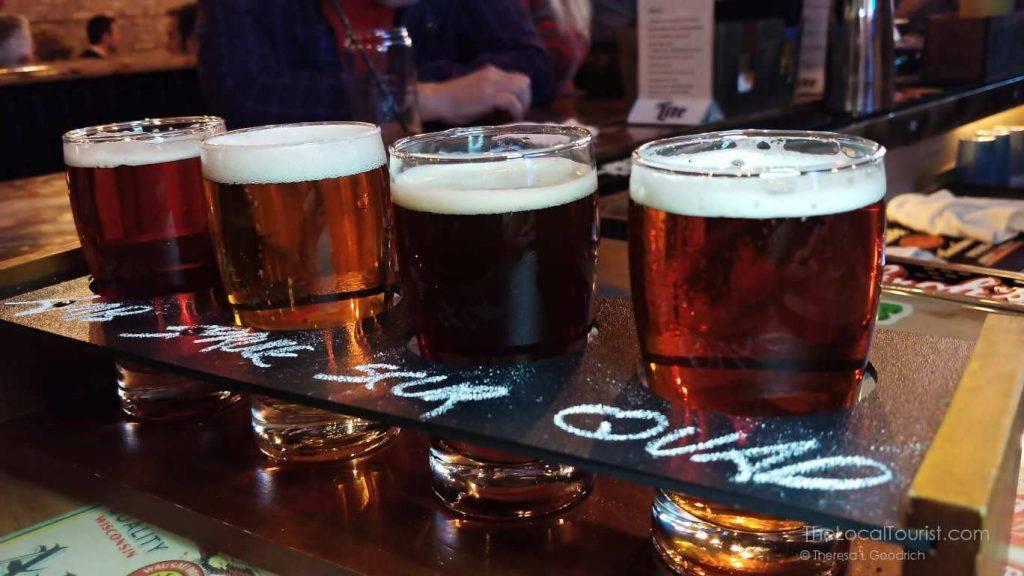 Beer flight at Richmond Brathaus