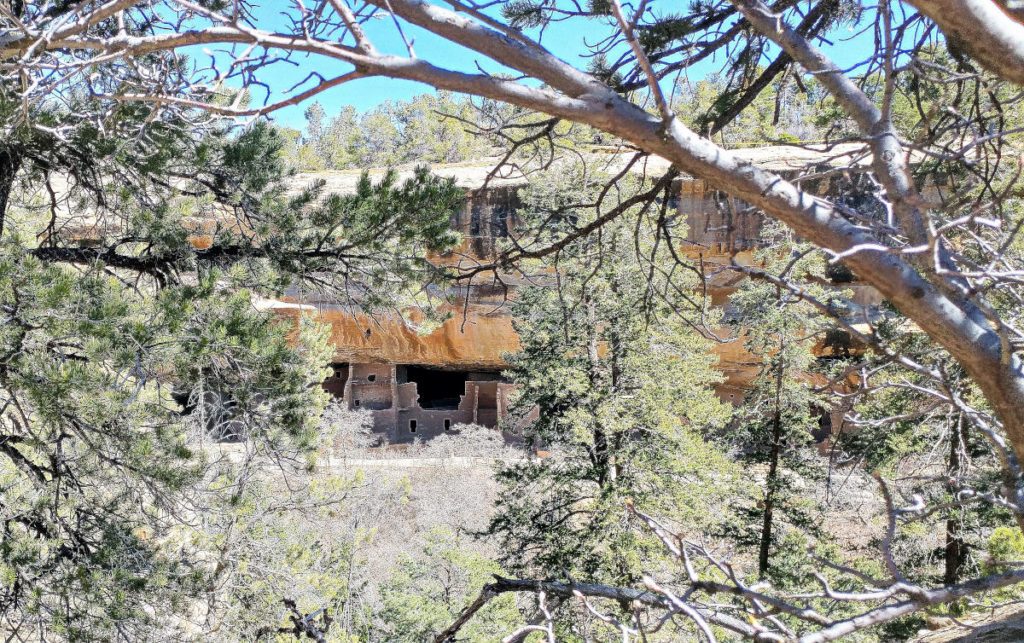 Spruce Tree House in the distance at Mesa Verde