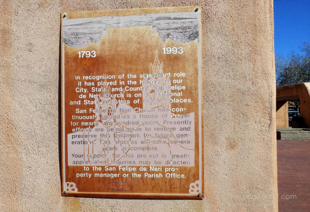 San Felipe de Neri historic marker