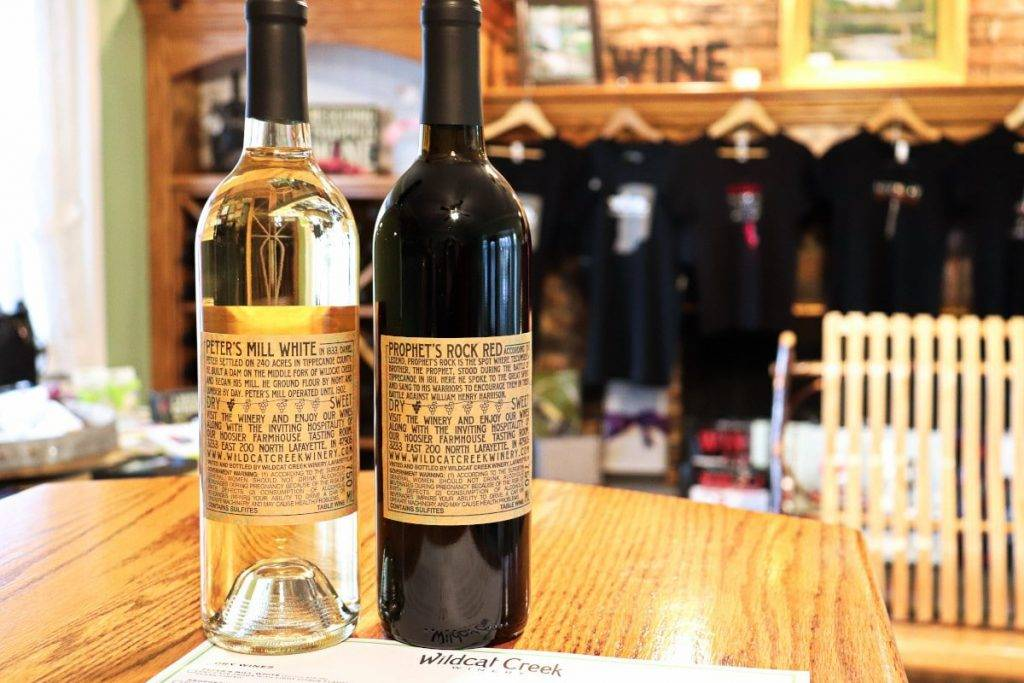 Wildcat Creek Winery is one of many fun things to do in Lafayette, Indiana. Pictured are two of their most popular wines.