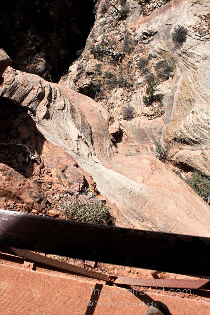 Looking down from the trail into the canyon