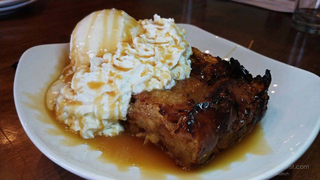 Warm apple bread pudding at Big Woods Restaurant