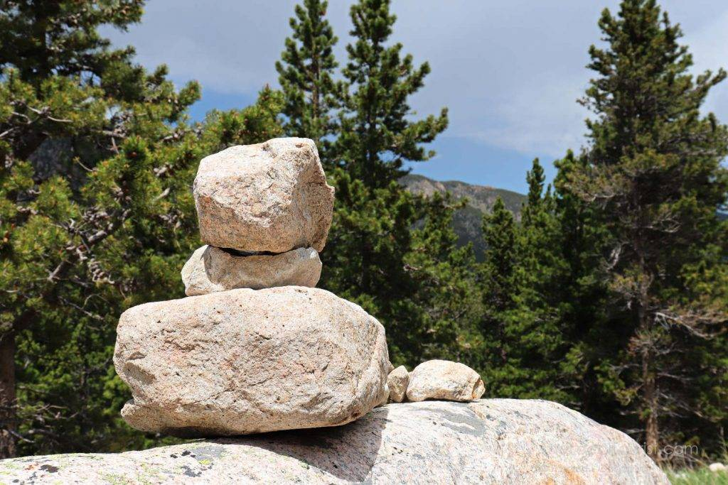 Rock cairn at one of the pull-offs on US-212