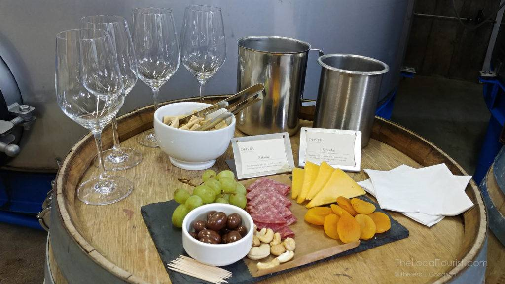 Cheese and charcuterie at Oliver Winery