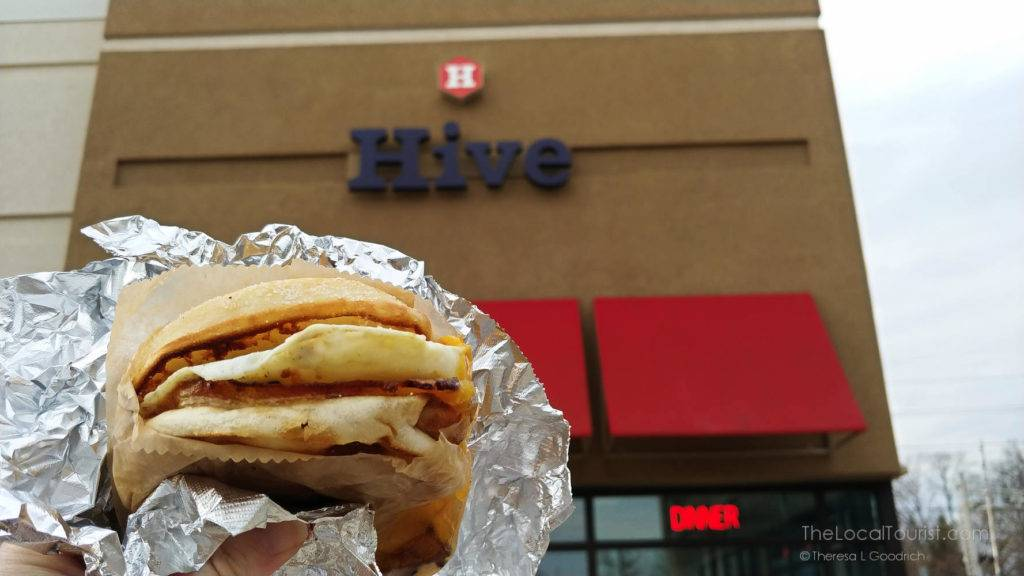 egg-n-muffin sandwich with ham from Hive in Bloomington
