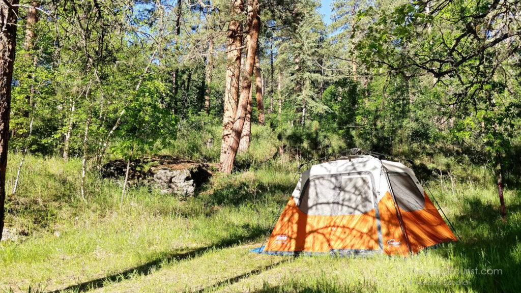 Camping at Horse Thief Campground near Mount Rushmore in South Dakota - camping is one of the most effective ways to save money on a road trip