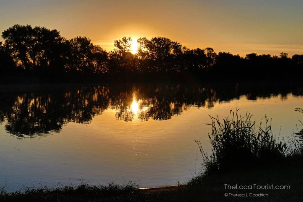 Sunrise at Lewis & Clark State Park in Iowa