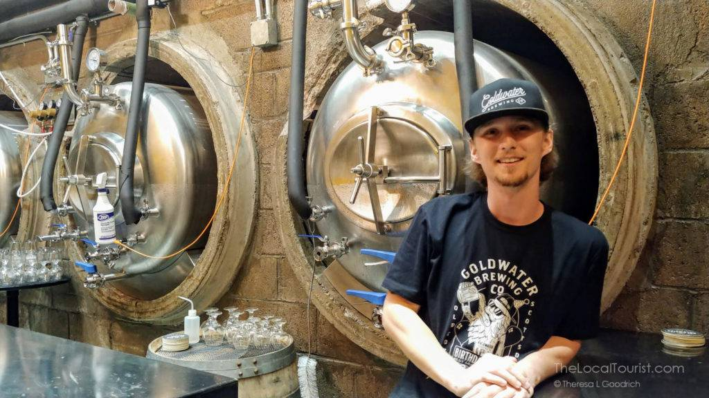 Parker in Goldmine, Goldwater Brewing's basement lager cellar