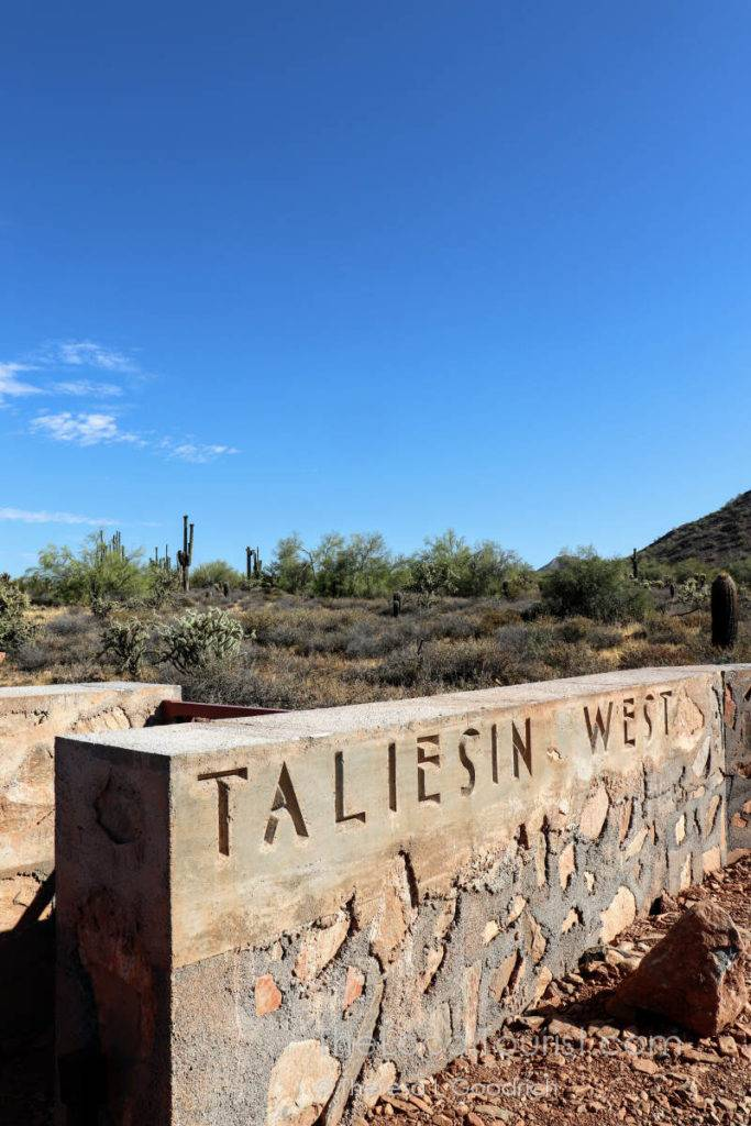 The can't-miss entrance to Taliesin West, Frank Lloyd Wright's Arizona winter home and studio
