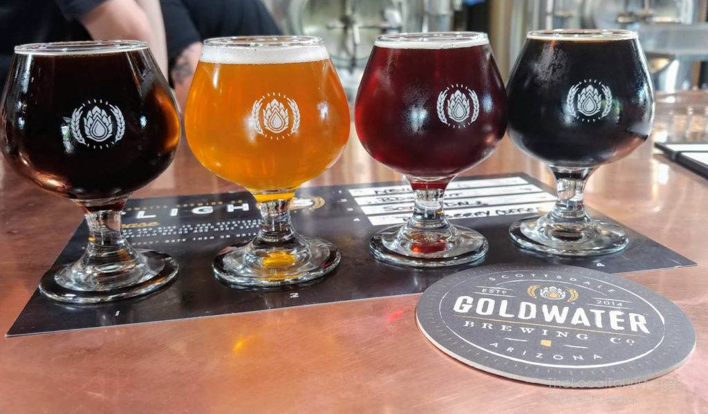 Beer flight at Goldwater Brewing