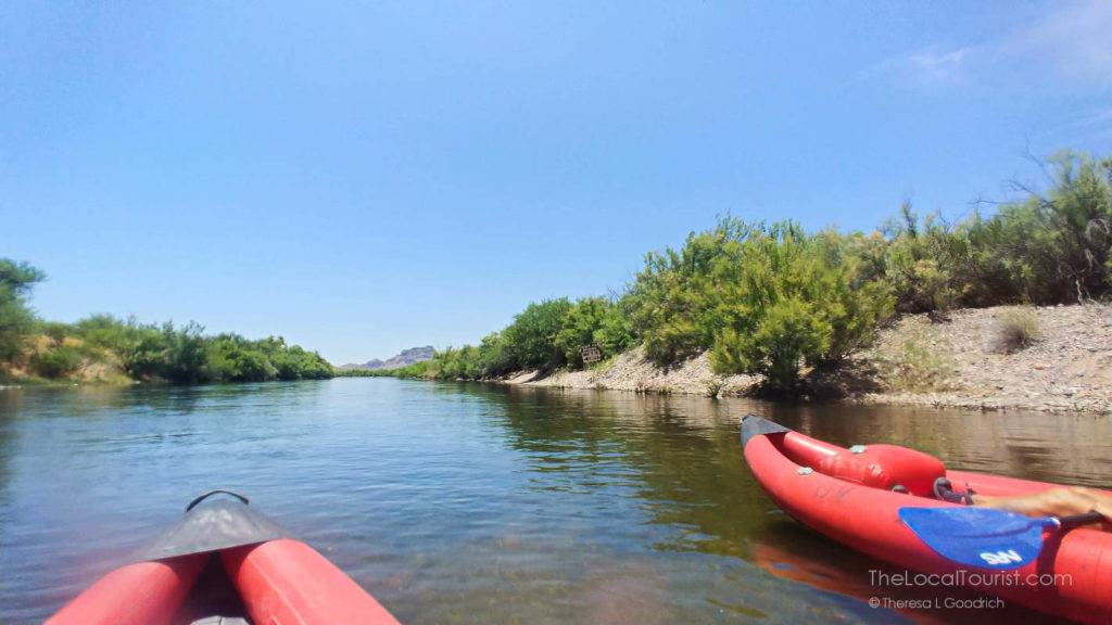Clear water of the Lower Salt River with two kayaks