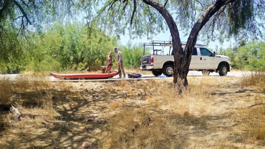 Inflating kayaks at the Salt River