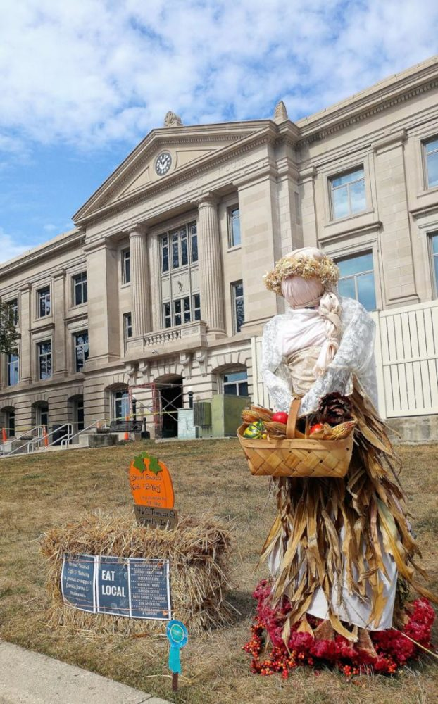 Scarecrow around the courthouse in downtown Danville, Indiana