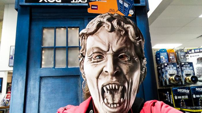 Theresa Goodrich has found a way to beat the weeping angel - become the weeping angel, with a mask from Who North America