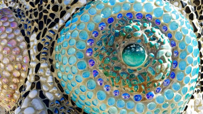 Close-up of hand-cut mosaics in Queen Califia's Magical Circle