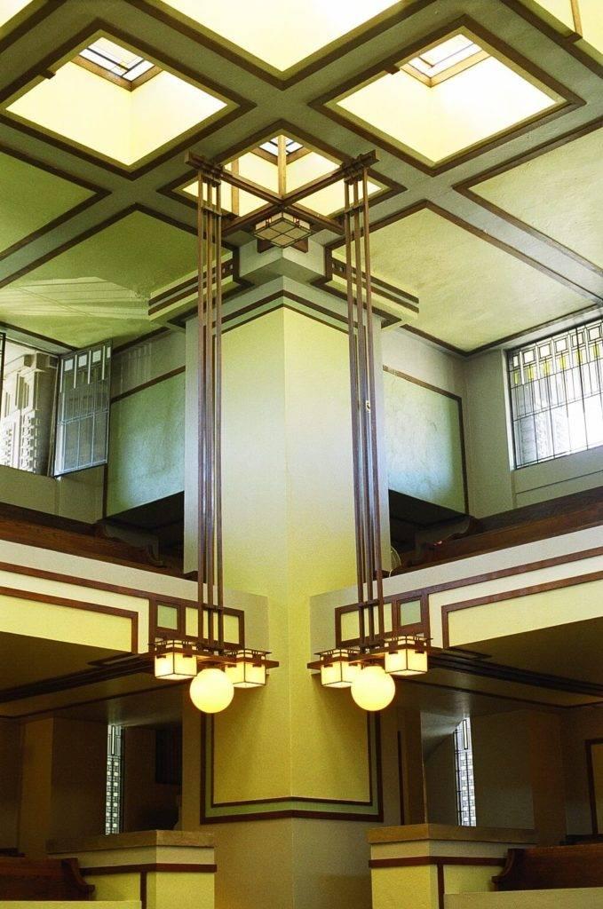 Inside Unity Temple in Oak Park, Illinois