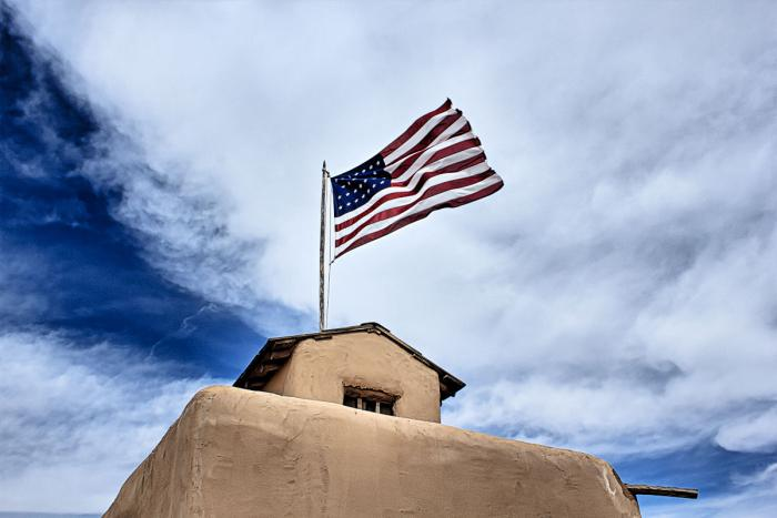 US flag flying over Bent's Old Fort