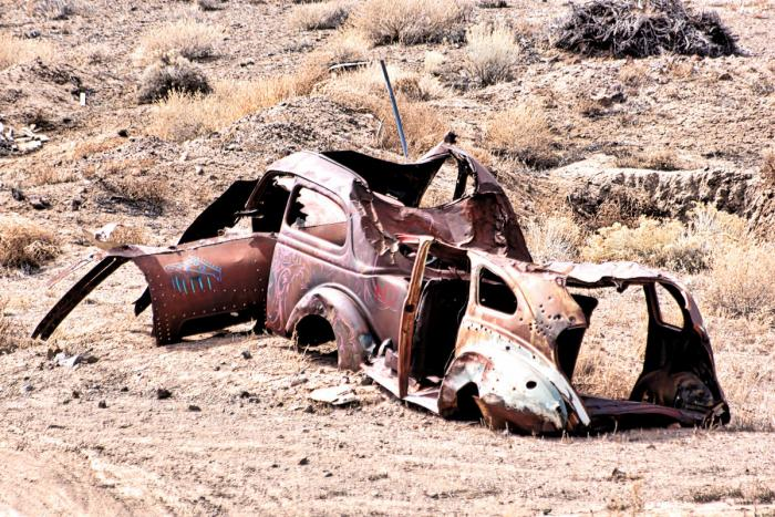 Rusted and ruined Volkswagen bug