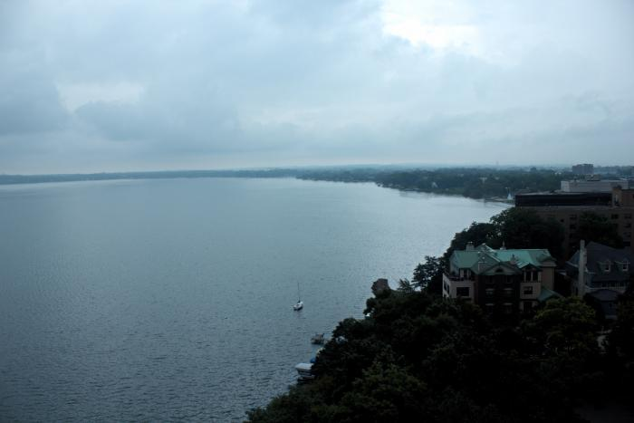 Lake Mendota and mansions on the shoreline from The Edgewater rooftop in Madison