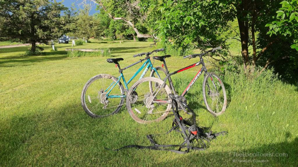 Mud-caked bikes at Smith Falls State Park