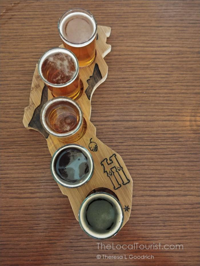 Beer flight at Haymarket Brewery & Taproom in Bridgman, Michigan