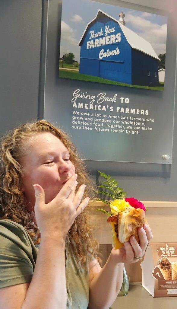 Theresa enjoying Culver's ButterBurger