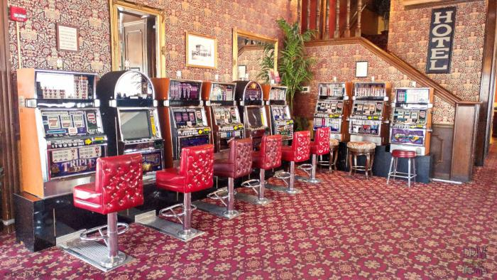 Slot machines in the Mizpah Hotel
