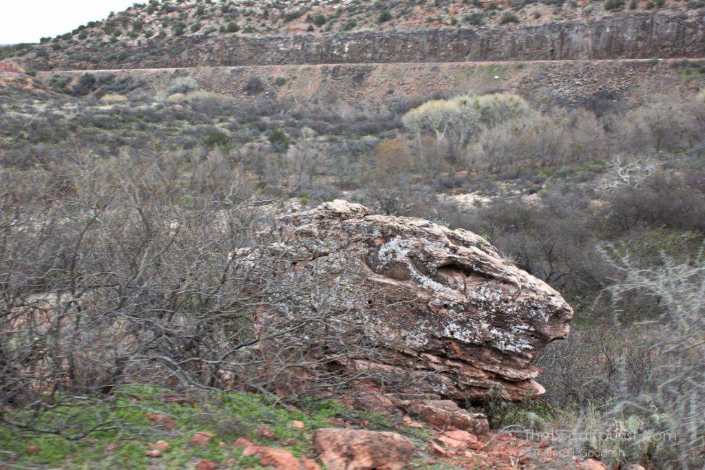Dinosaur rock formation at Verde Canyon