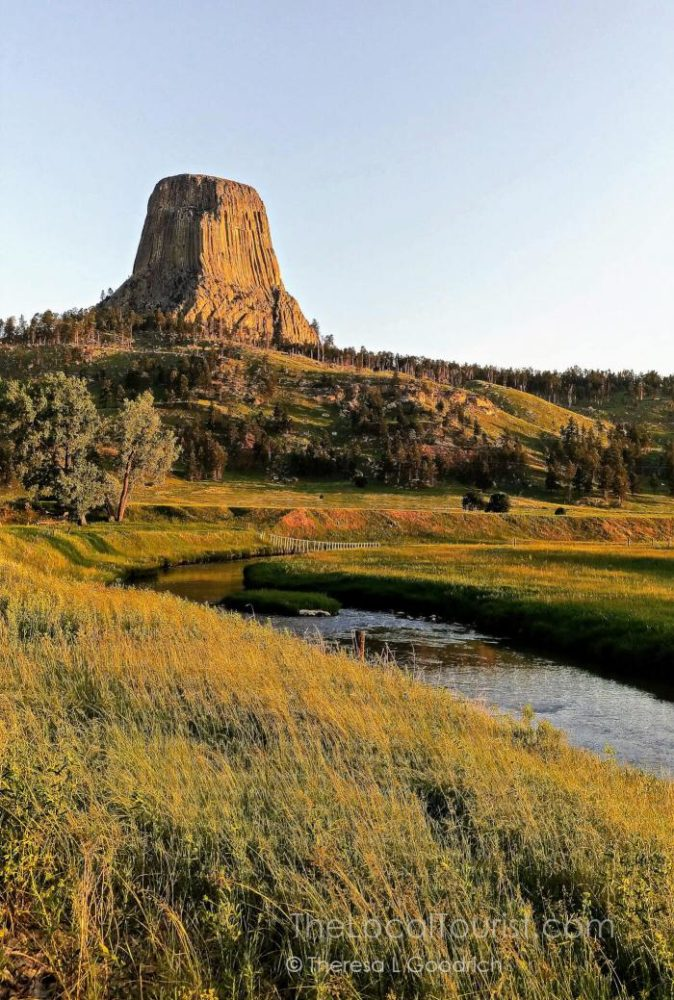 Sunrise and the Belle Fourche River at Devils Tower Wyoming