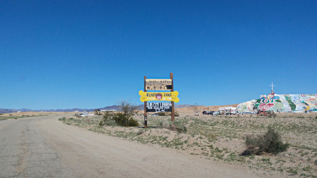 Sign right before Salvation Mountain near the Salton Sea in Imperial County, California