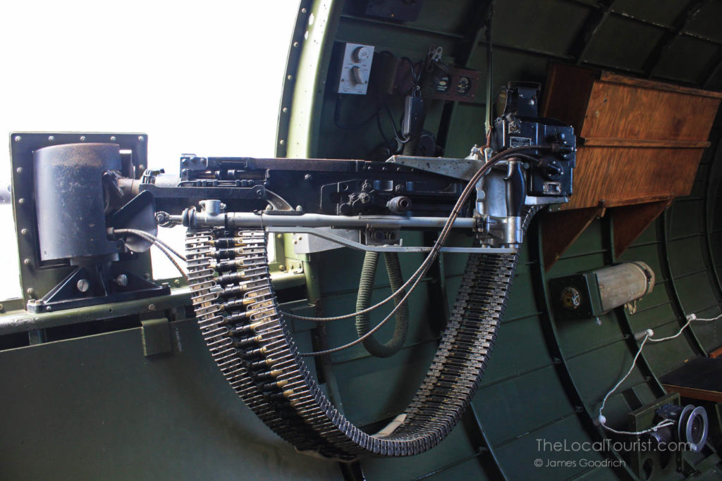 Ammunition feeding the machine gun in the B-17 Flying Fortress WWII heavy bomber; Photo credit Jim Goodrich