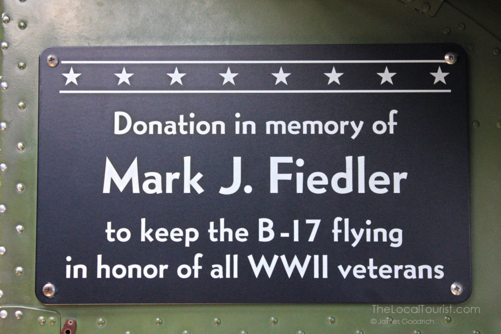 Donation in memory of Mark J. Fiedler to keep the B-17 flying in honor of all WWII veterans
