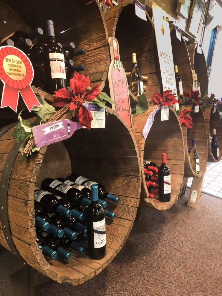 Wine selection at Easley Winery