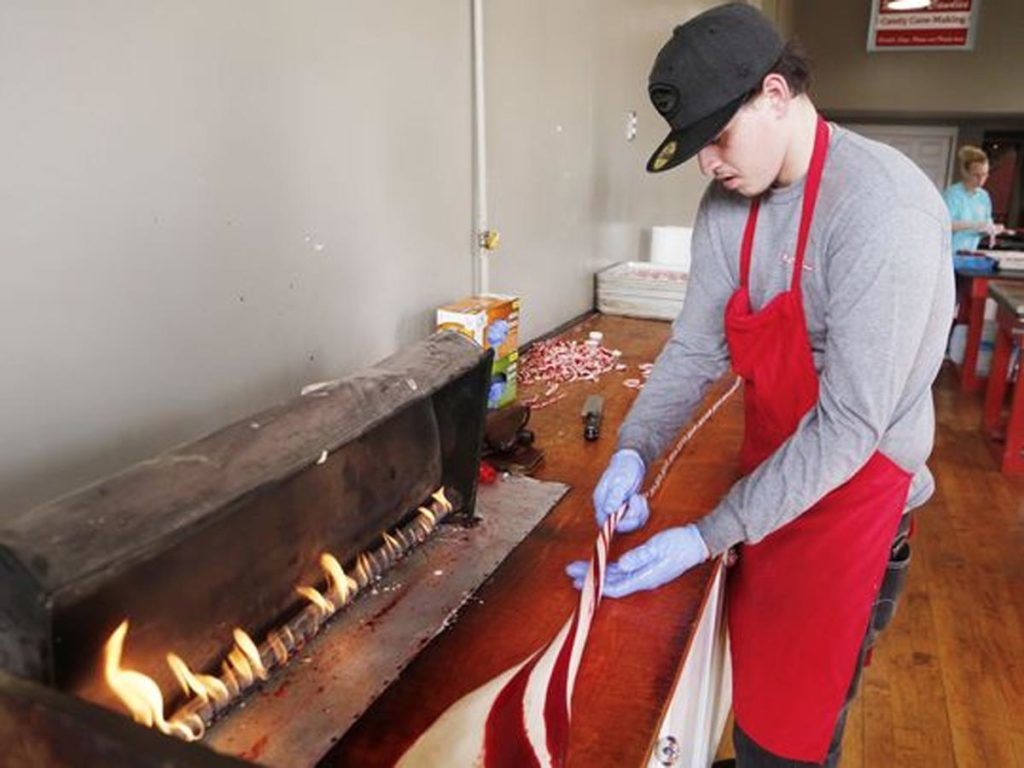 Making candy canes at McCords Candies