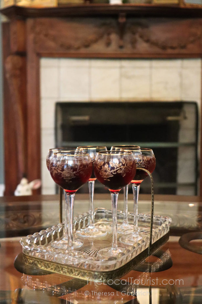 Cherry cordial in vintage glasses at Cherry Tree Inn